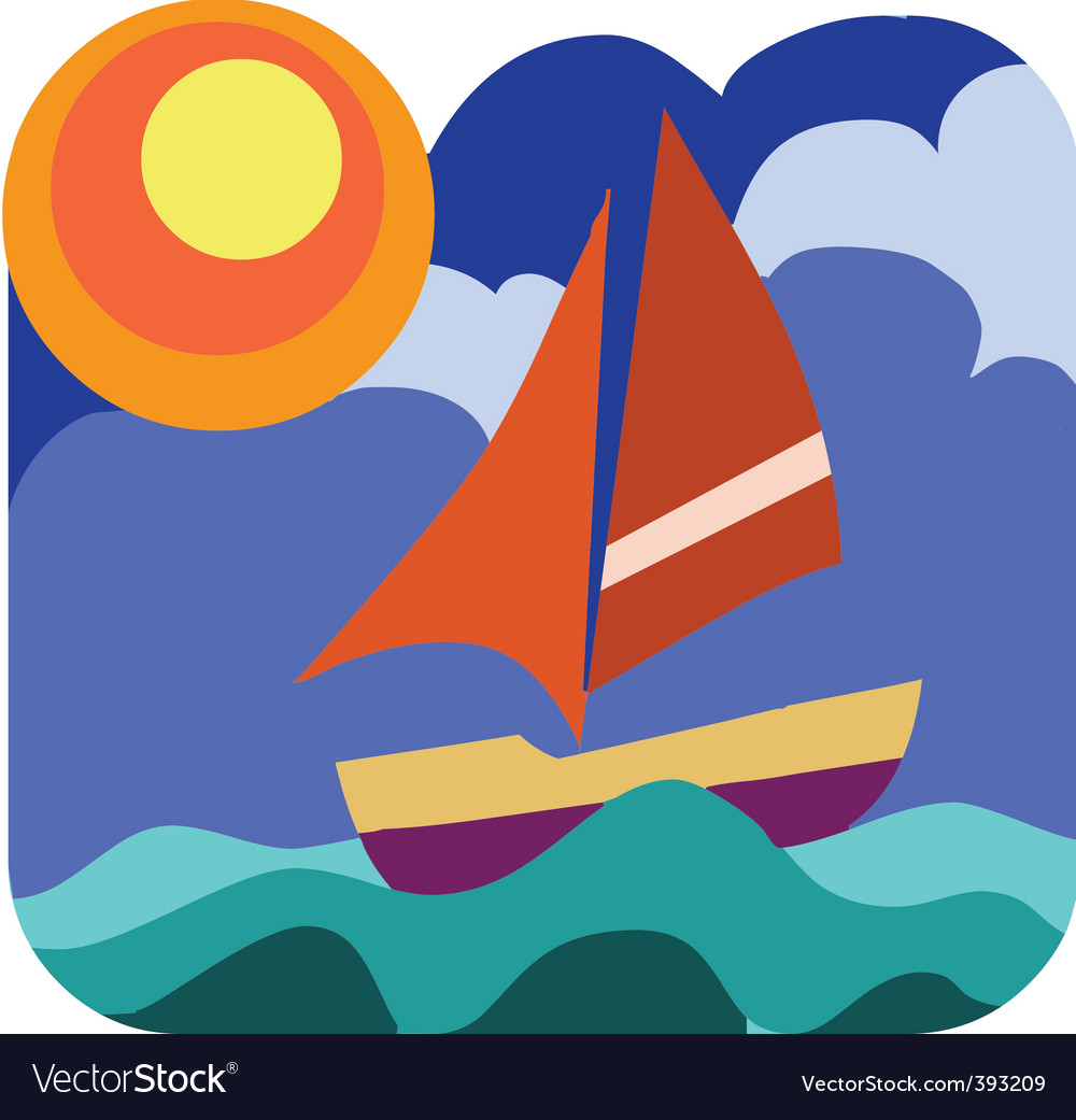 Yacht sailing vector | Price: 1 Credit (USD $1)