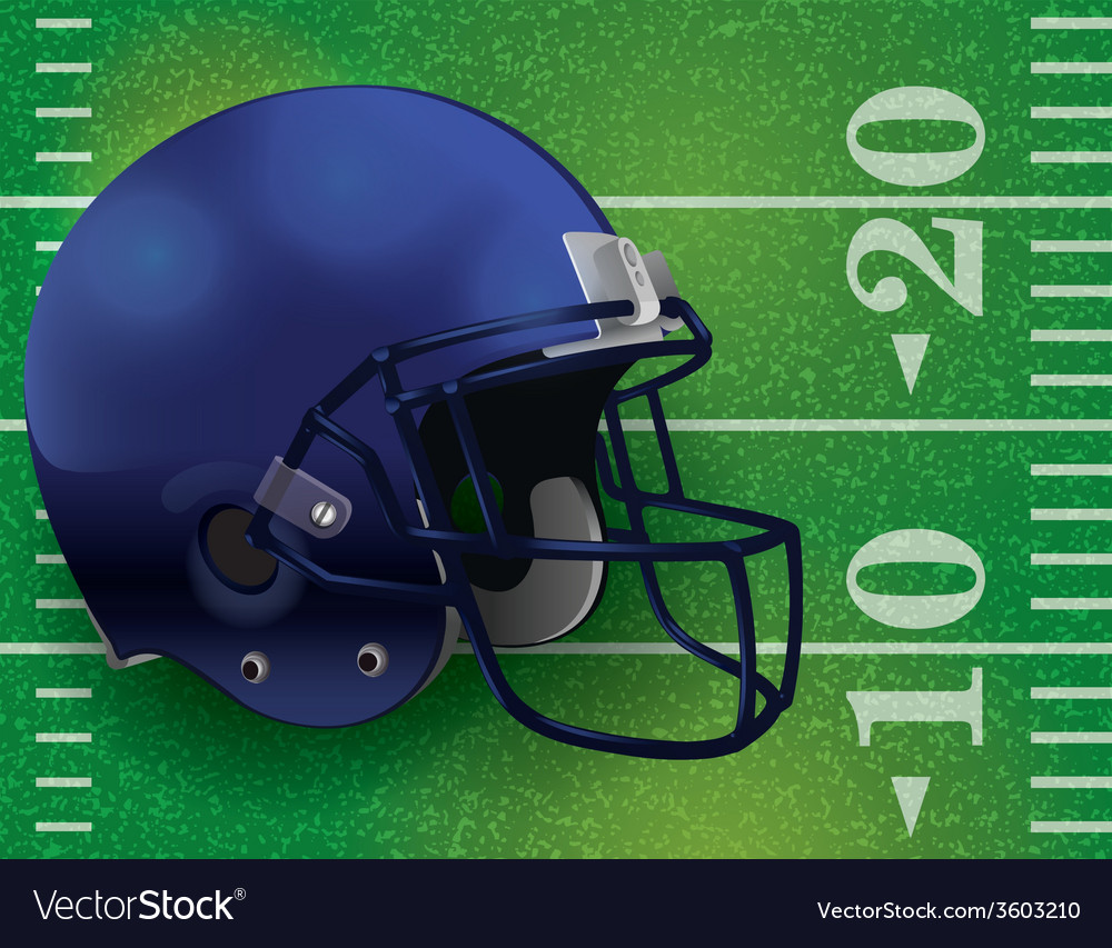 American football helmet on lined field vector | Price: 1 Credit (USD $1)