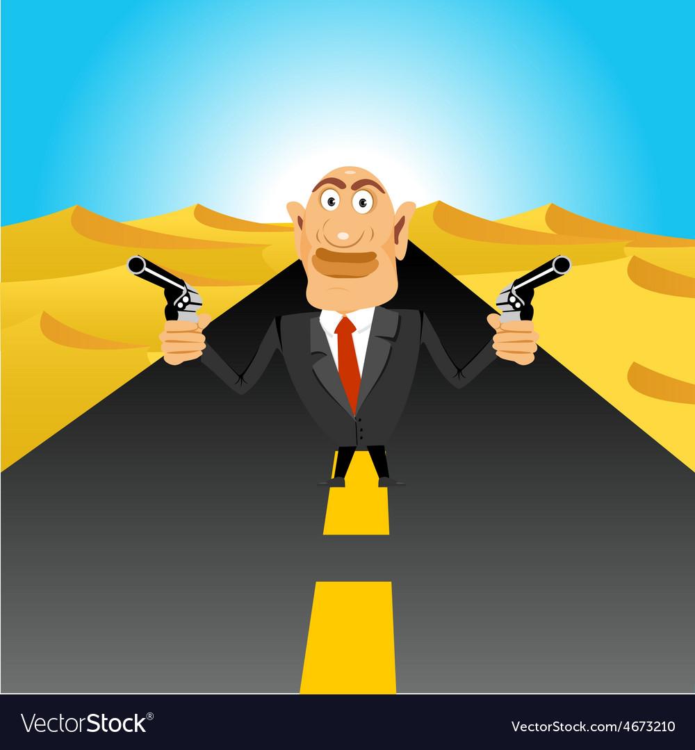 Brutal gangster holding handguns vector | Price: 1 Credit (USD $1)
