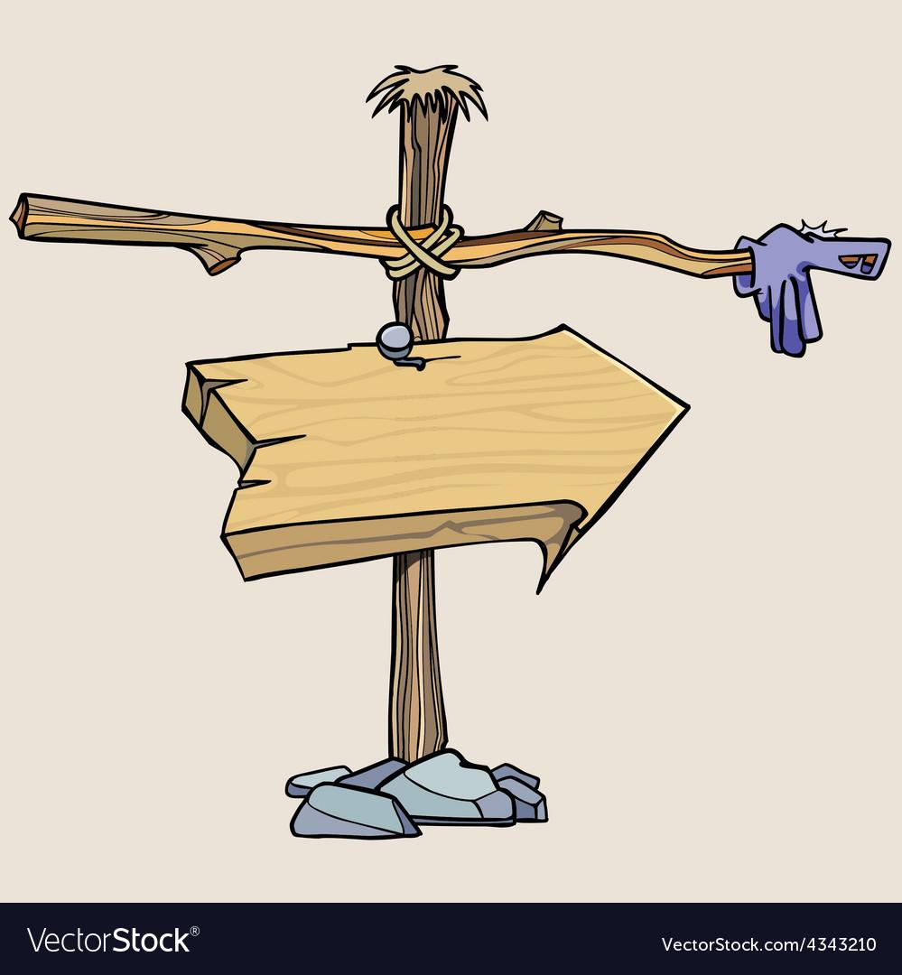 Cartoon wooden arrow pointer vector   Price: 3 Credit (USD $3)