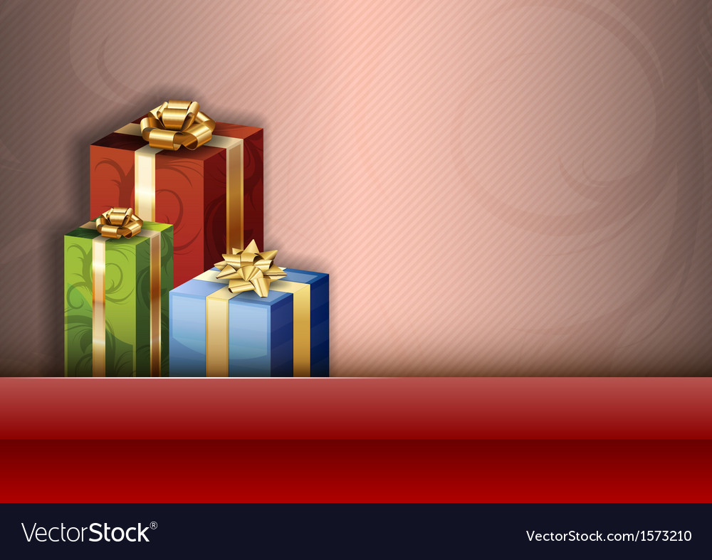 Christmas background red stripe gifts vector | Price: 1 Credit (USD $1)