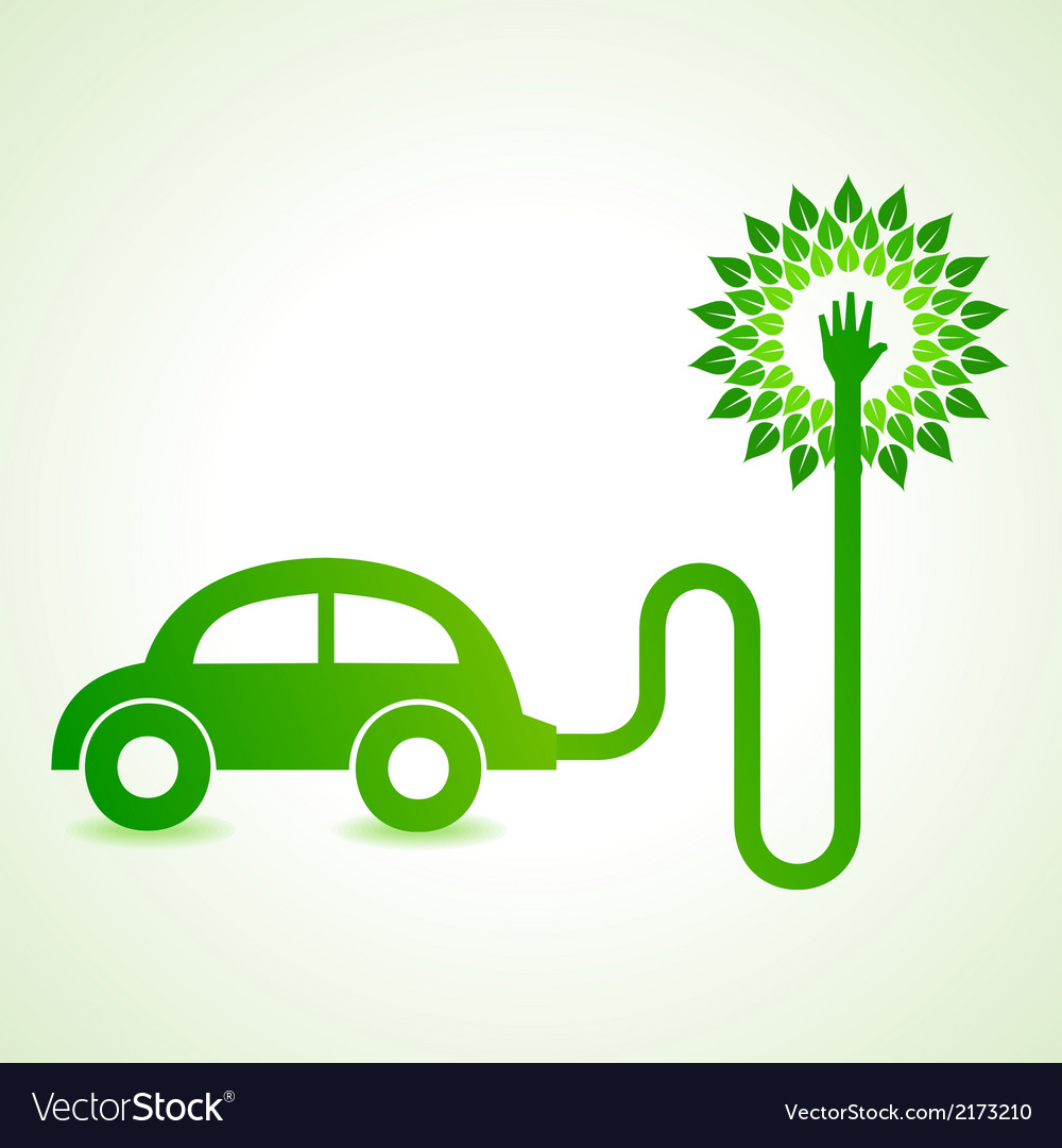 Electric car with green tree concept vector | Price: 1 Credit (USD $1)