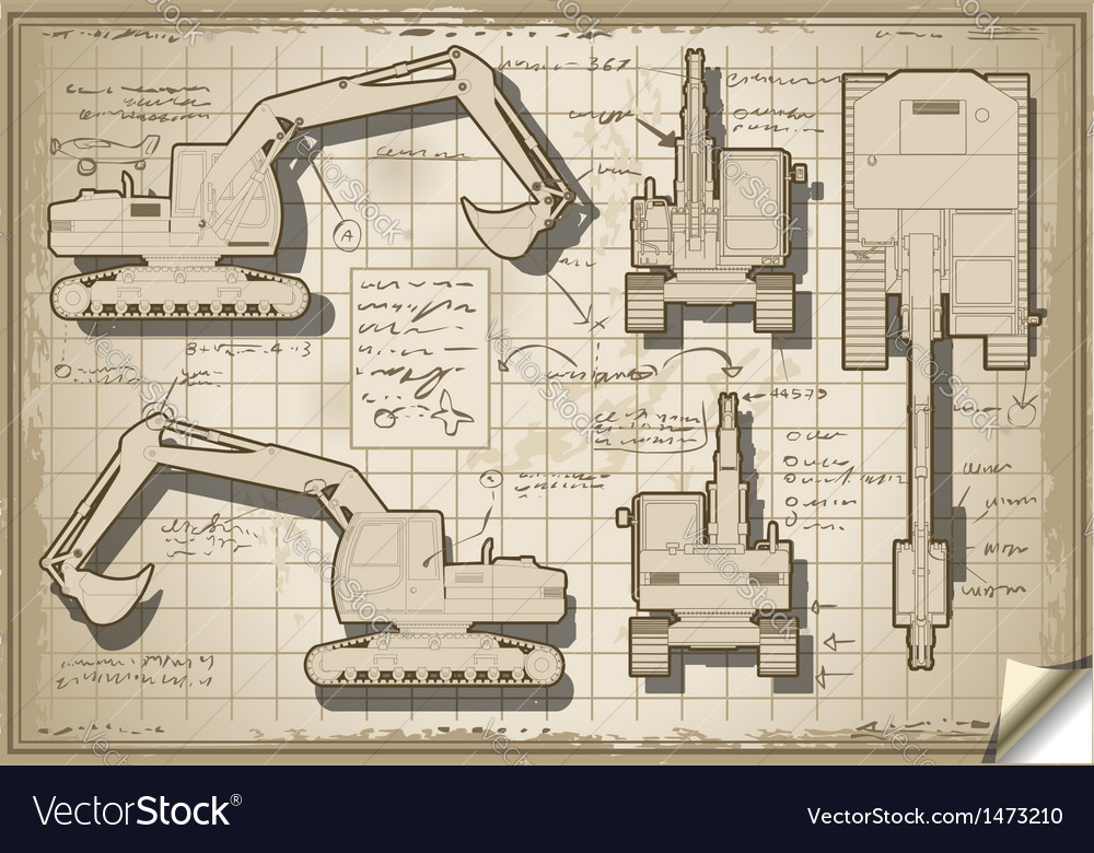 Excavator old project in five orthogonal views vector   Price: 1 Credit (USD $1)