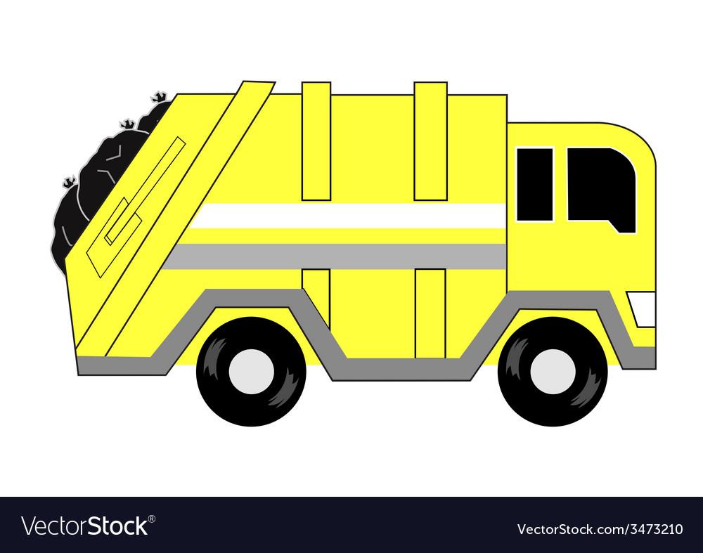 Garbage truck cartoon vector | Price: 1 Credit (USD $1)