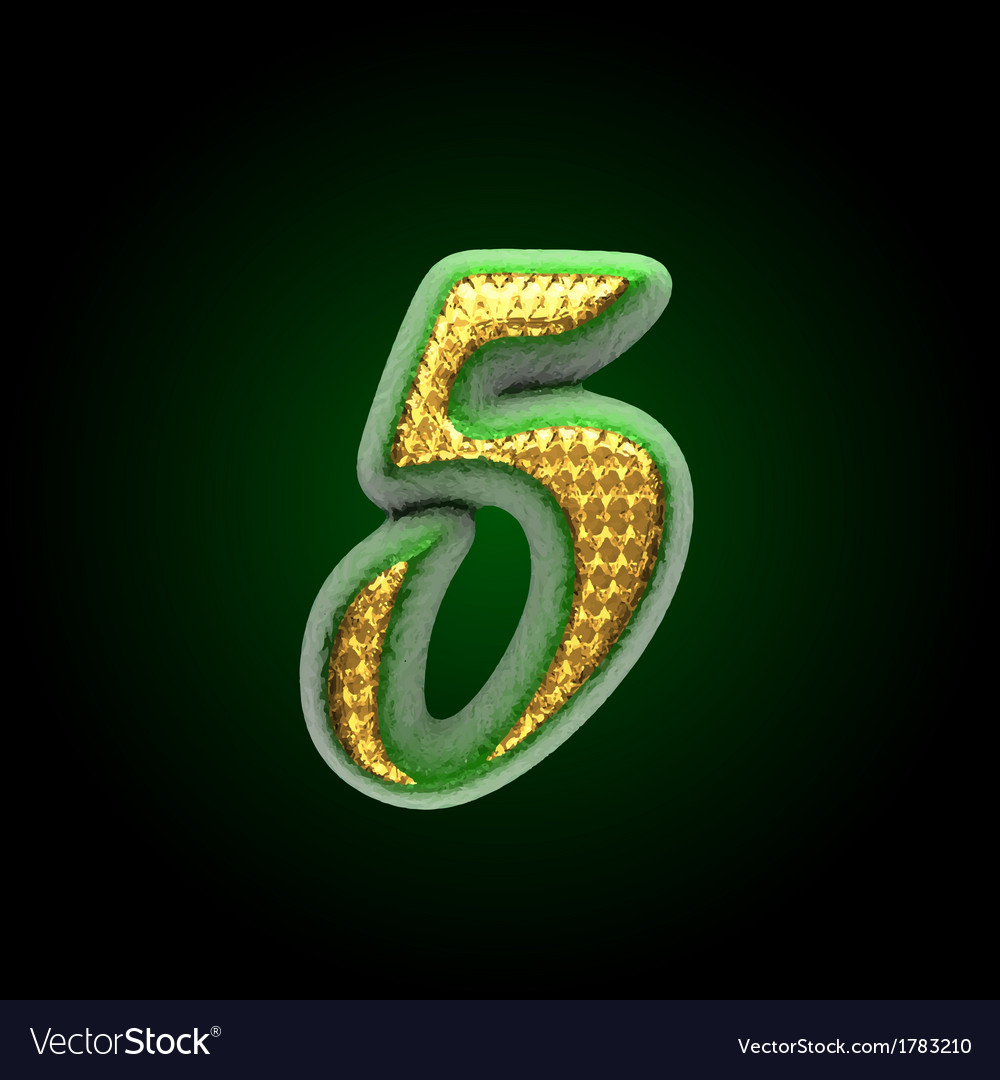 Golden and green letter 5 vector | Price: 1 Credit (USD $1)