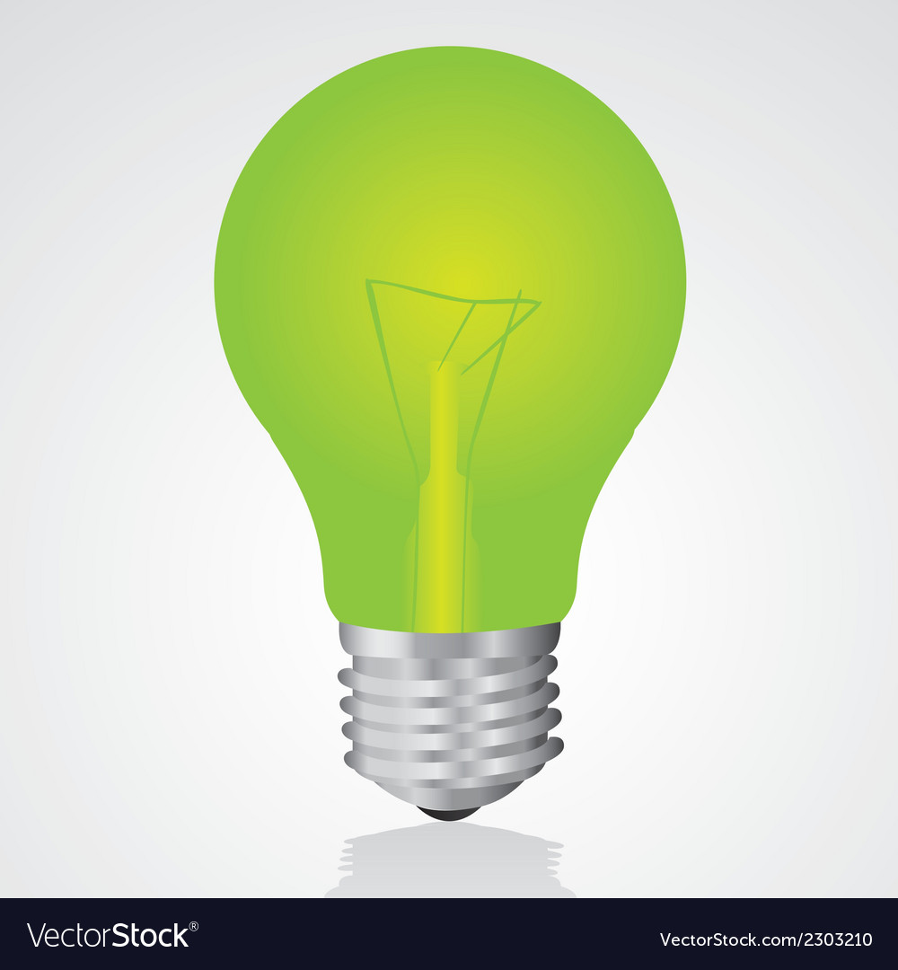 Green light bulb isolated on white background vector | Price: 1 Credit (USD $1)