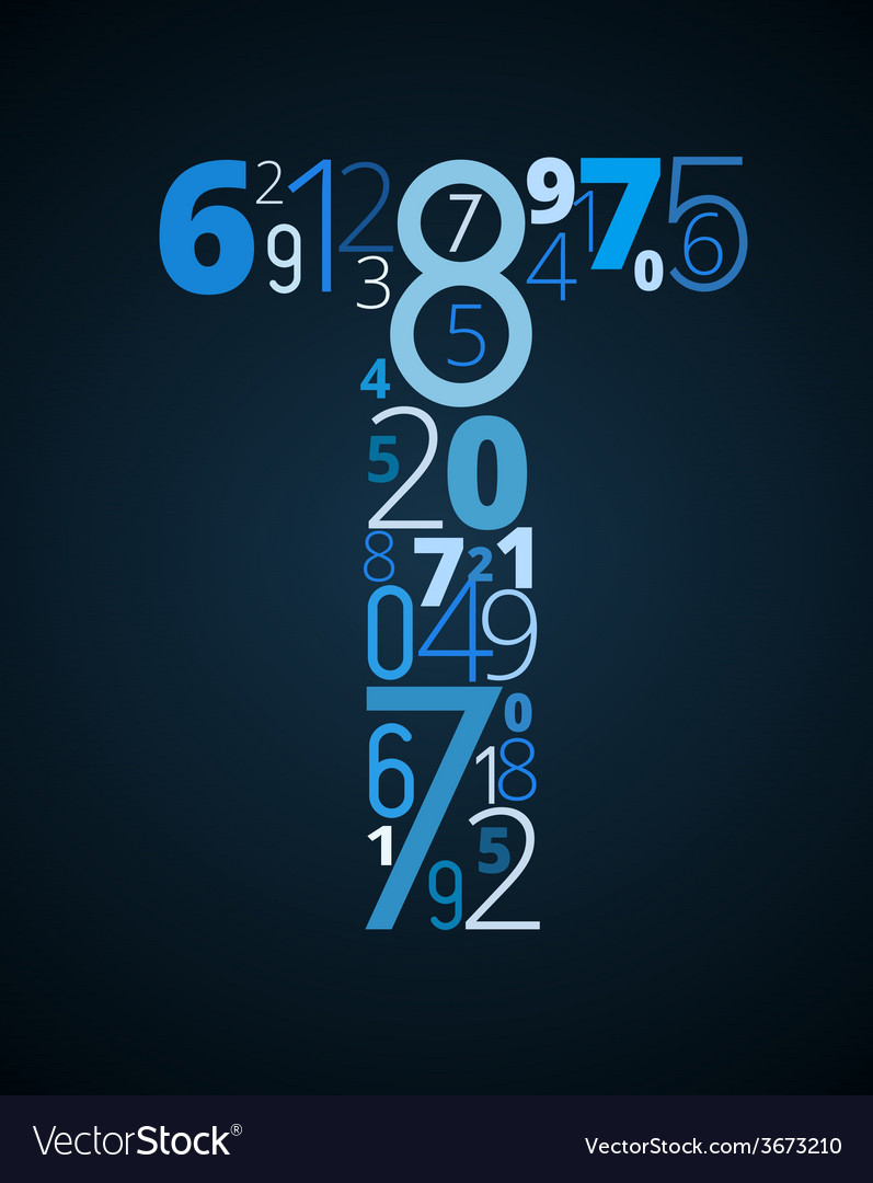 Letter t font from numbers vector | Price: 1 Credit (USD $1)