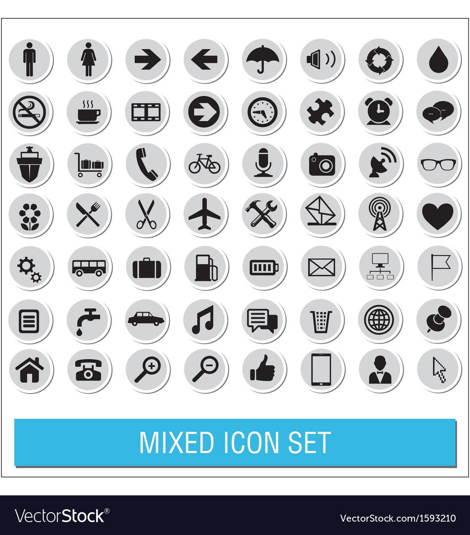 Mixed icon set labels vector | Price: 1 Credit (USD $1)