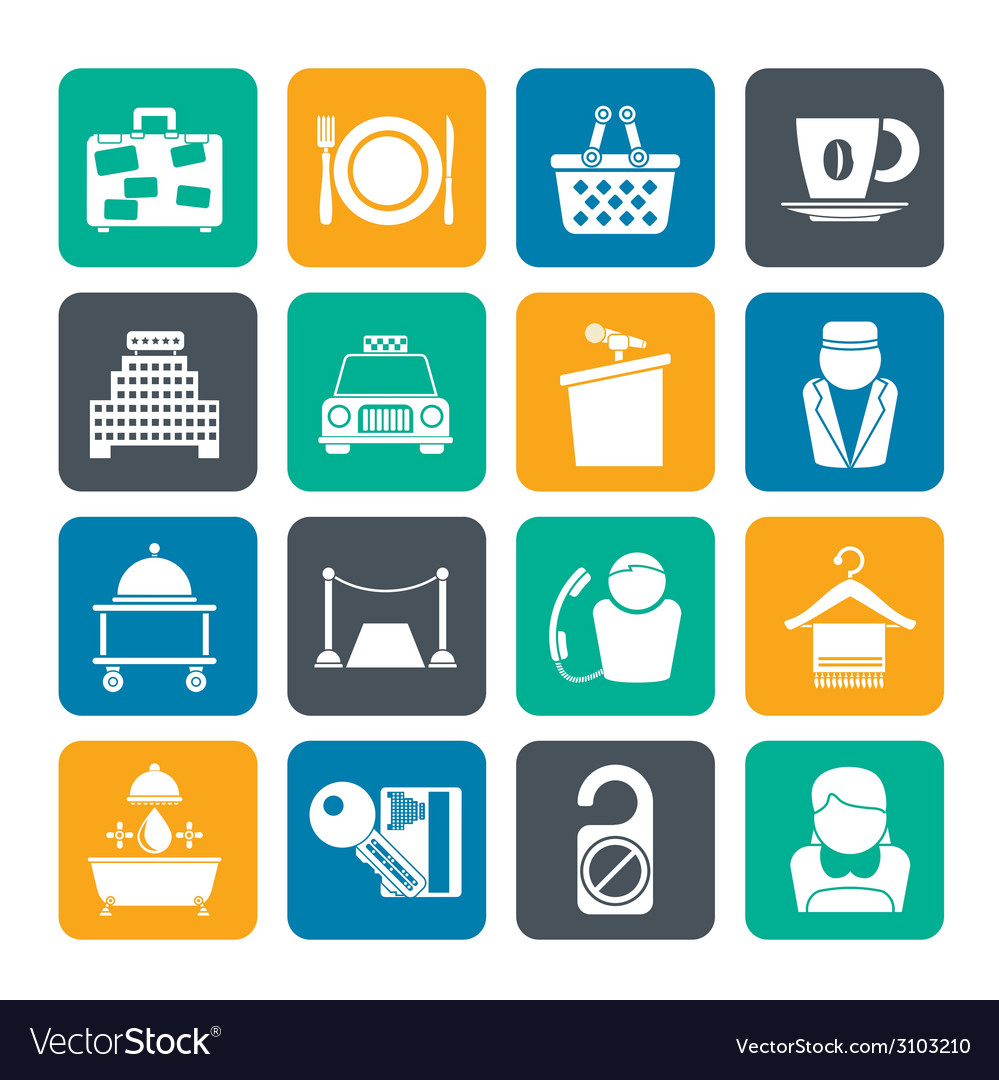 Silhouette hotel and motel services icons vector | Price: 1 Credit (USD $1)