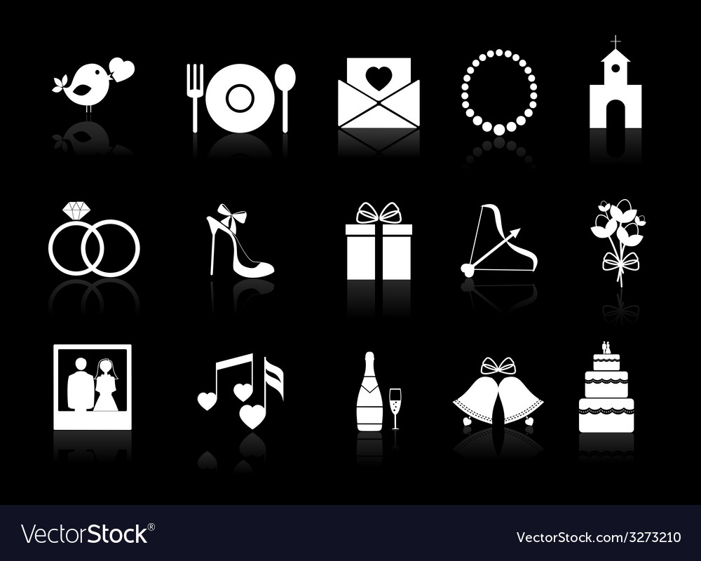 Wedding icons on a black background vector | Price: 1 Credit (USD $1)