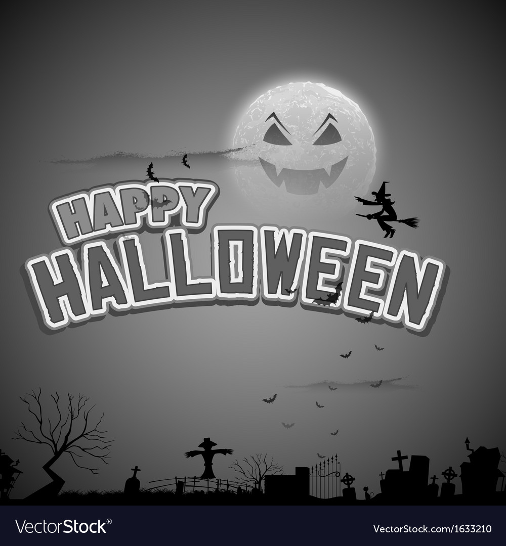 Witch flying in happy halloween background vector | Price: 1 Credit (USD $1)