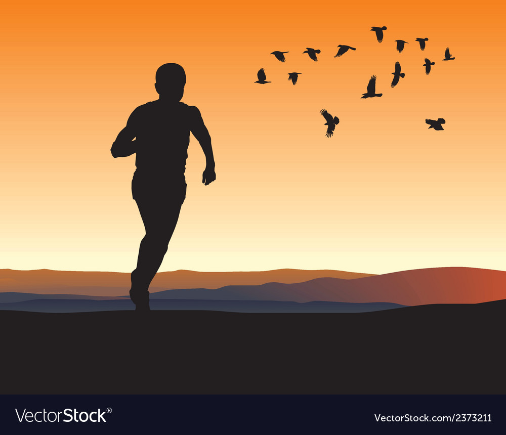 A lone runner on the horizon vector | Price: 1 Credit (USD $1)