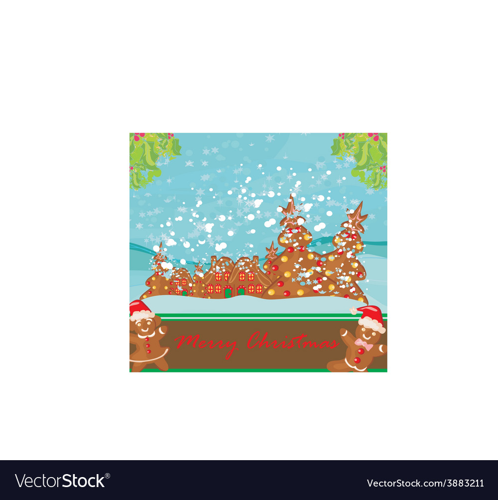 Christmas card with a ginger-bread and funny vector   Price: 1 Credit (USD $1)