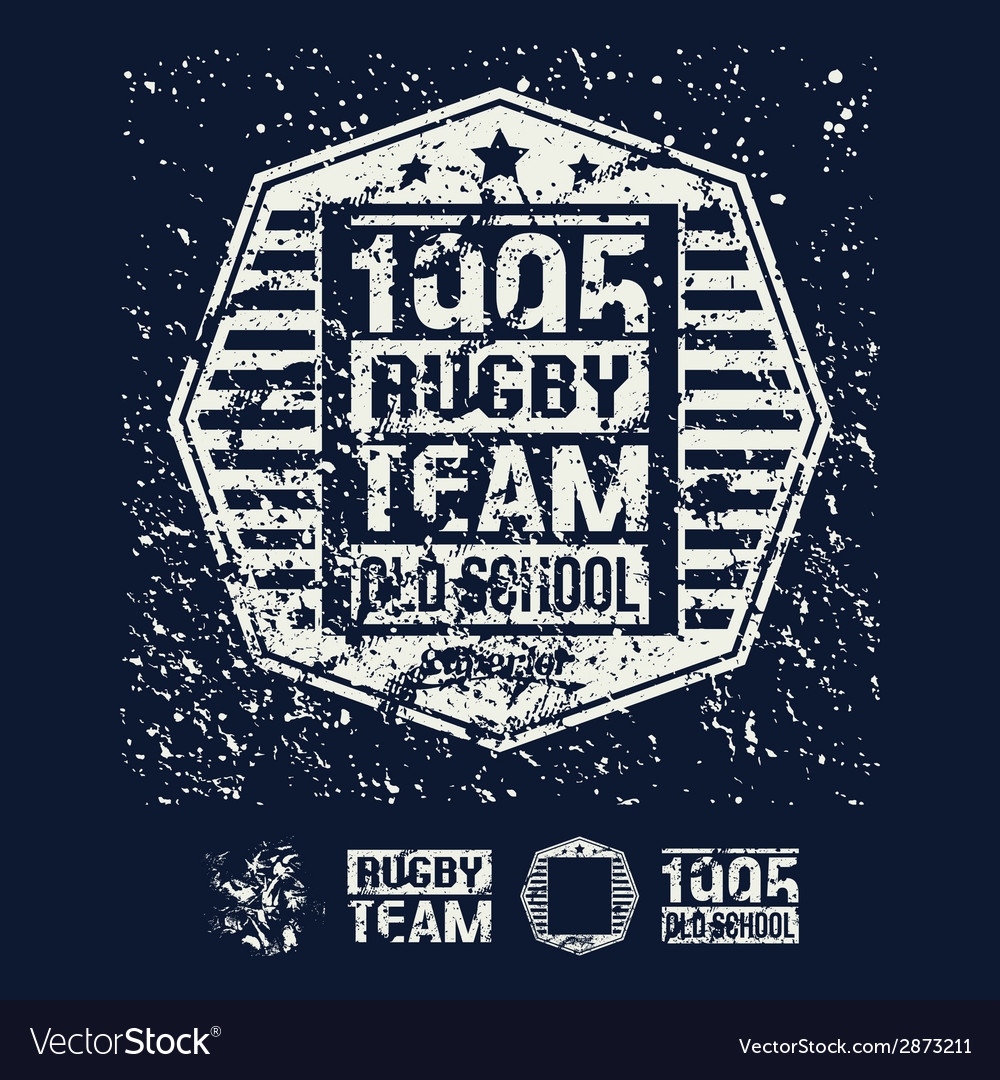 College rugby retro emblem and design elements vector | Price: 1 Credit (USD $1)