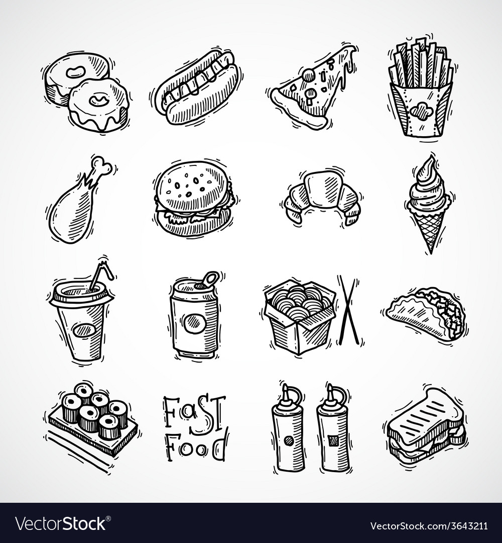 Fast food icons set vector | Price: 1 Credit (USD $1)