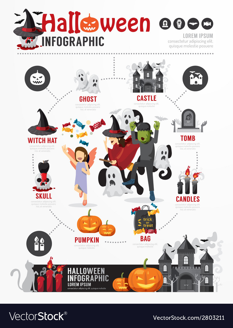Halloween party template design infographic vector | Price: 1 Credit (USD $1)
