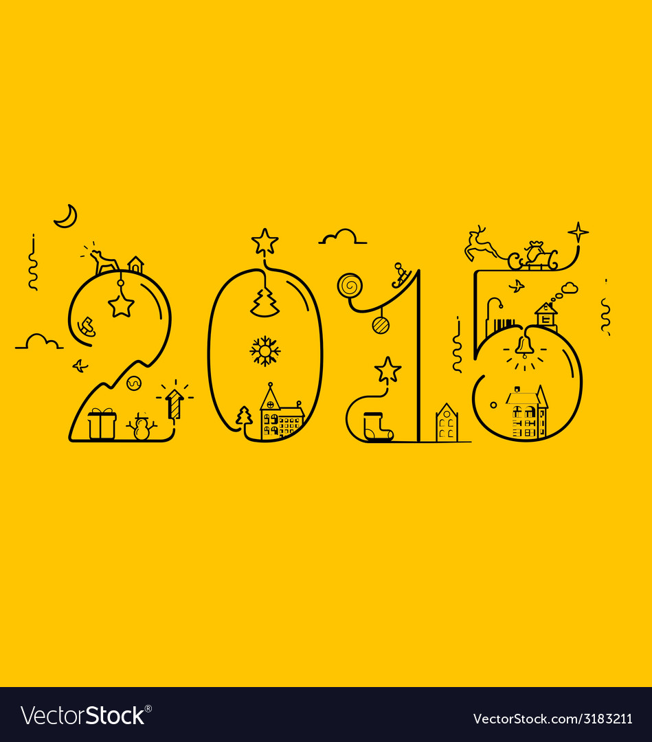 Inscription of 2015 with decoration vector | Price: 1 Credit (USD $1)