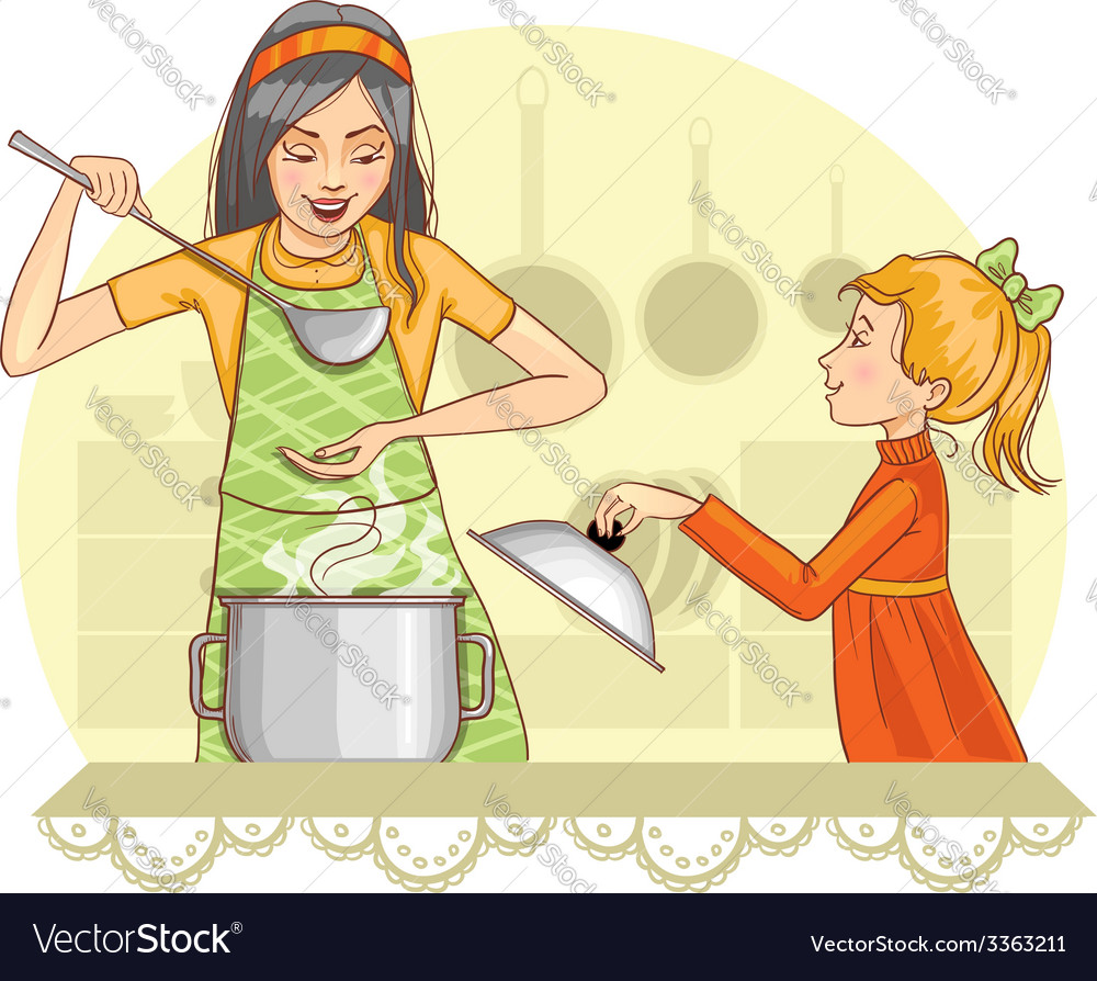 Mother and daughter tests food in the kitchen vector | Price: 3 Credit (USD $3)