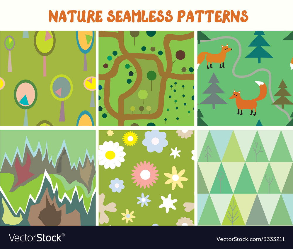 Nature seamless patterns set with tree flowers vector | Price: 1 Credit (USD $1)