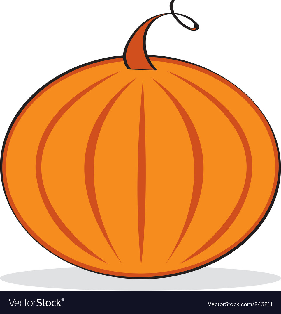 Orange pumpkin with grey shadow vector | Price: 1 Credit (USD $1)
