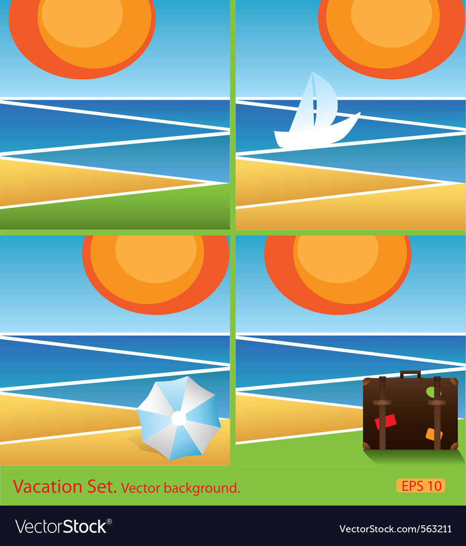 Set of vacation background vector | Price: 1 Credit (USD $1)