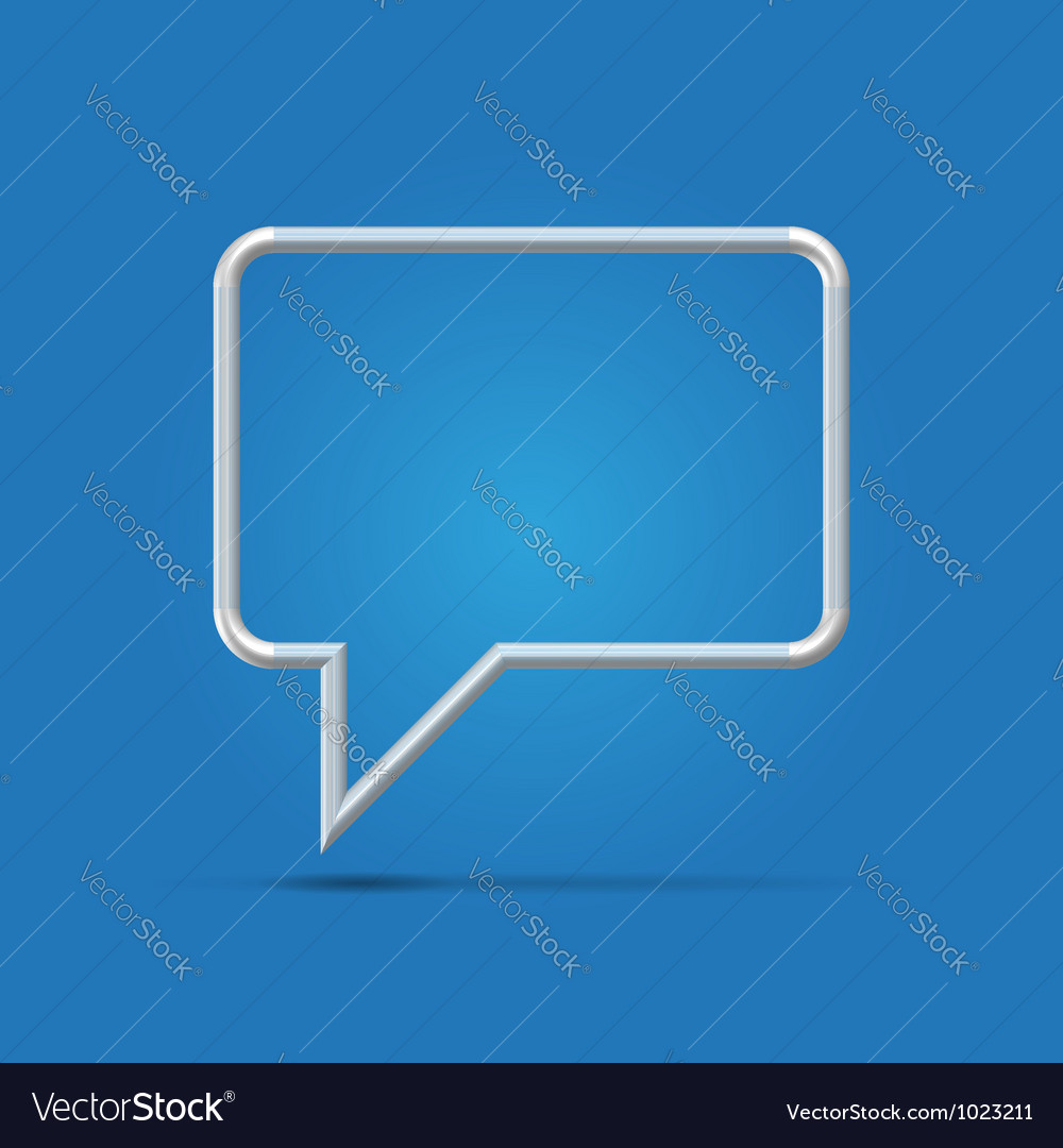 Silver communication balloon over blue vector | Price:  Credit (USD $)