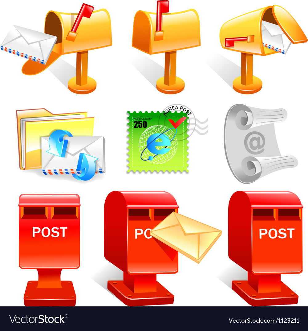 Variety of mailbox and the letter icon sets vector | Price: 1 Credit (USD $1)