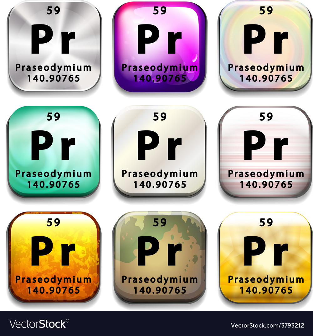 An icon showing the chemical praseodymium vector | Price: 1 Credit (USD $1)