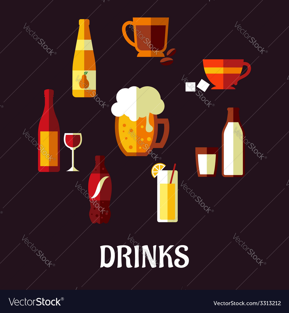 Drinks and beverages flat icons vector | Price: 1 Credit (USD $1)