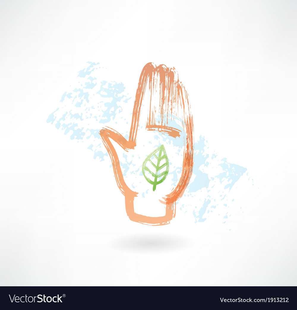 Eco palm grunge icon vector | Price: 1 Credit (USD $1)