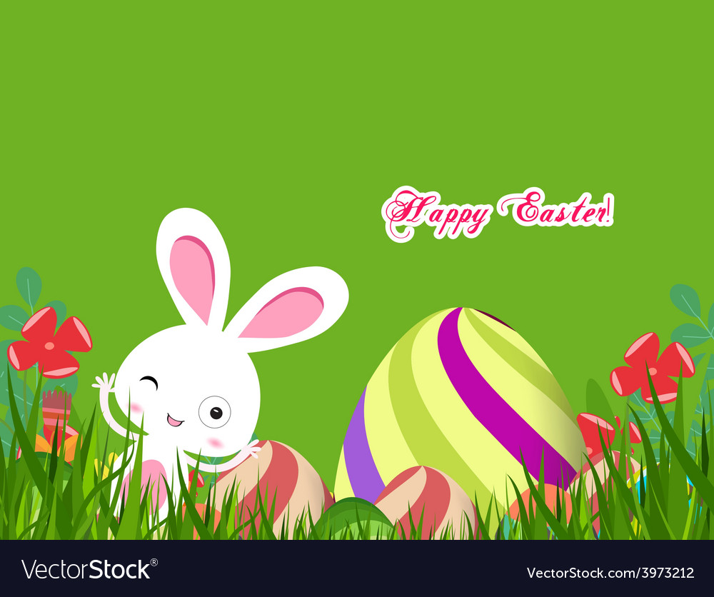 Green easter eggs and bunny background vector | Price: 1 Credit (USD $1)