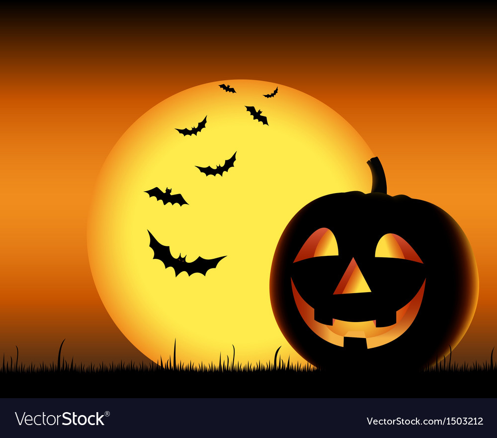 Grinning pumpkin with bats on backgound halloween vector | Price: 1 Credit (USD $1)