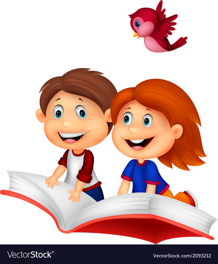 Happy children cartoon riding book vector | Price: 1 Credit (USD $1)