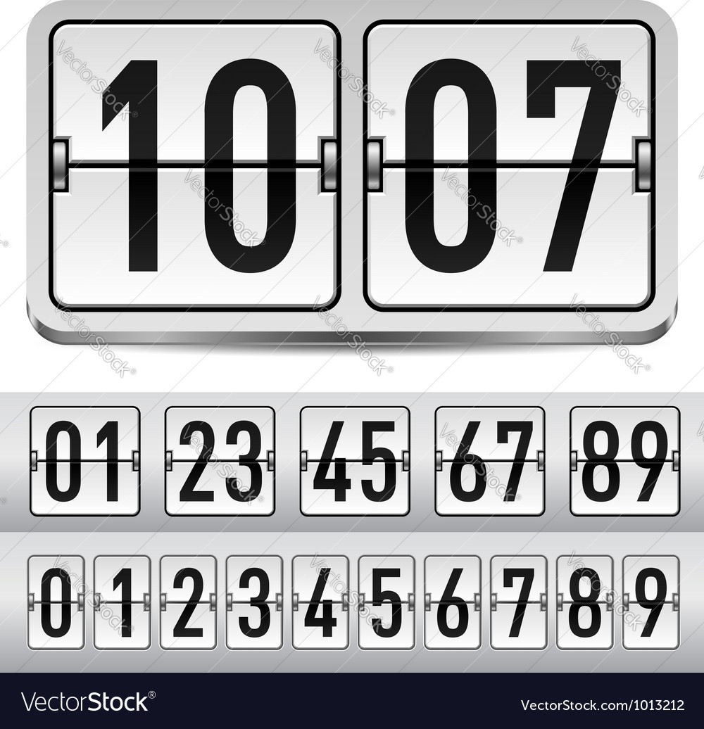 Numbers of gray mechanical panel for design vector | Price: 1 Credit (USD $1)