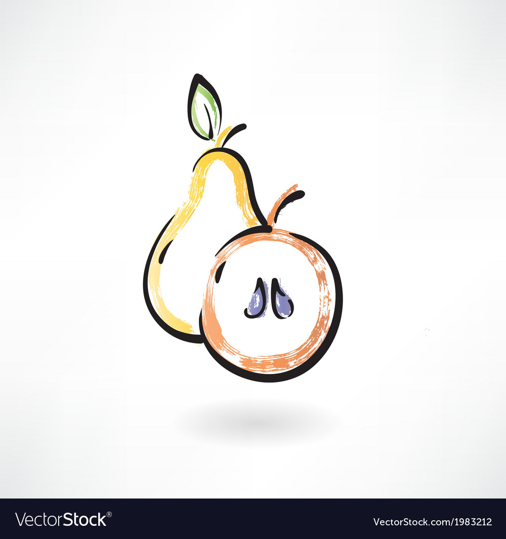 Pear and apple grunge icon vector | Price: 1 Credit (USD $1)