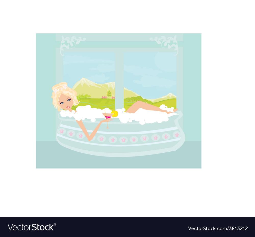 Pretty girl with drink in bath enjoying elegant vector   Price: 1 Credit (USD $1)
