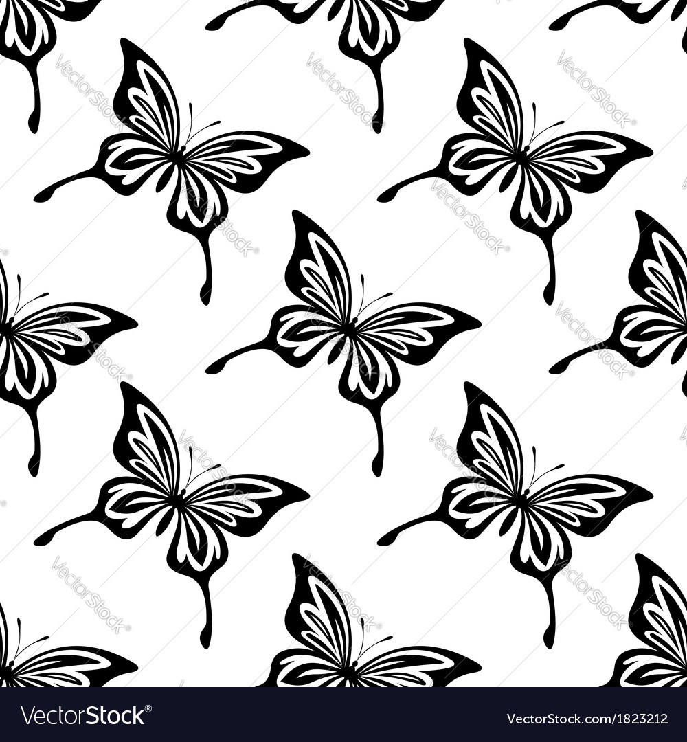 Repeat seamless pattern of butterflies vector | Price: 1 Credit (USD $1)