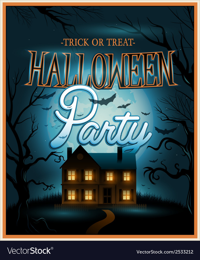 Retro halloween background party invitation vector | Price: 3 Credit (USD $3)