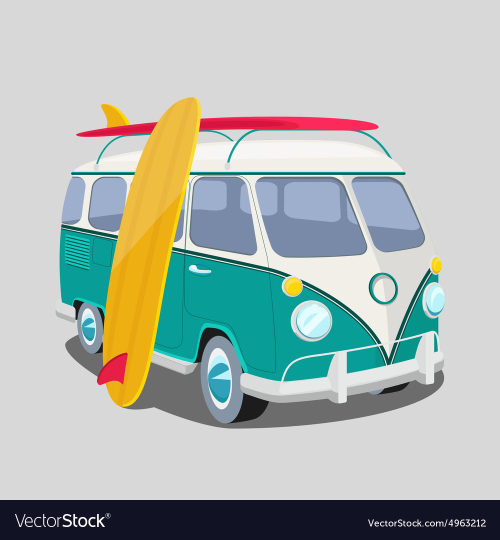 Surfer van poster or tshirt graphics vector