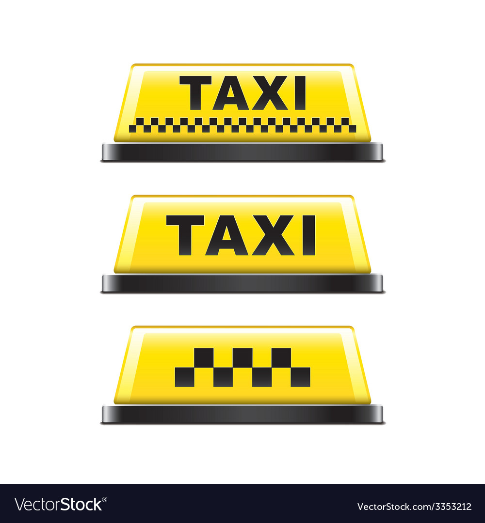 Taxi sign isolated vector