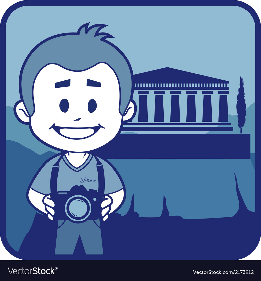 Teaser with photographer travels through greece vector | Price: 1 Credit (USD $1)