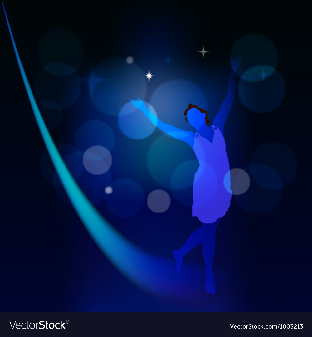 Abstract background with moonlight path and a girl vector | Price: 1 Credit (USD $1)