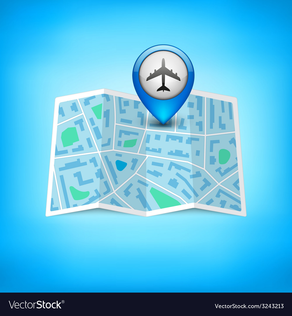 City map with label pin isolated vector | Price: 1 Credit (USD $1)
