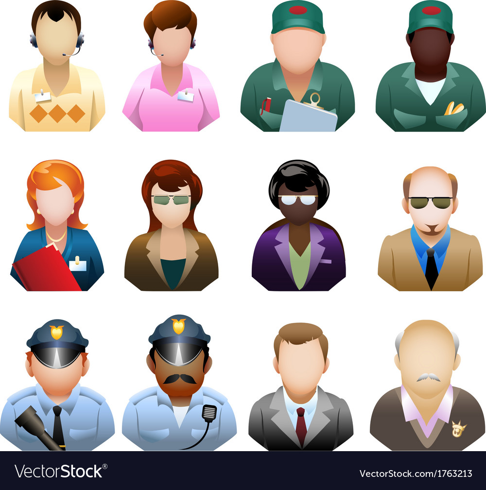 Corporation people icon set vector | Price: 1 Credit (USD $1)