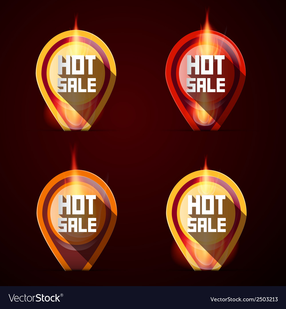 Hot sale stickers - labels set in flames - fire vector | Price: 1 Credit (USD $1)