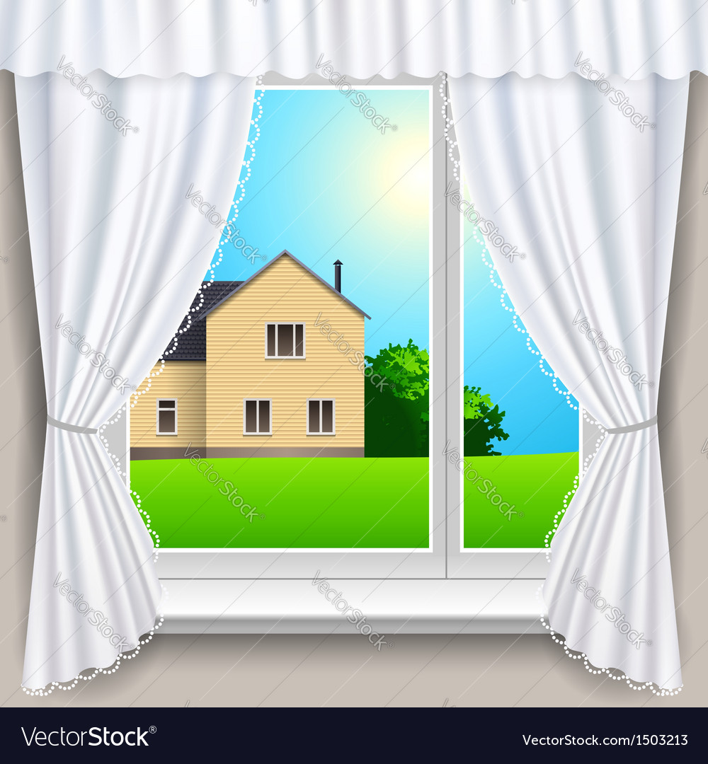 Spring window house vector | Price: 3 Credit (USD $3)