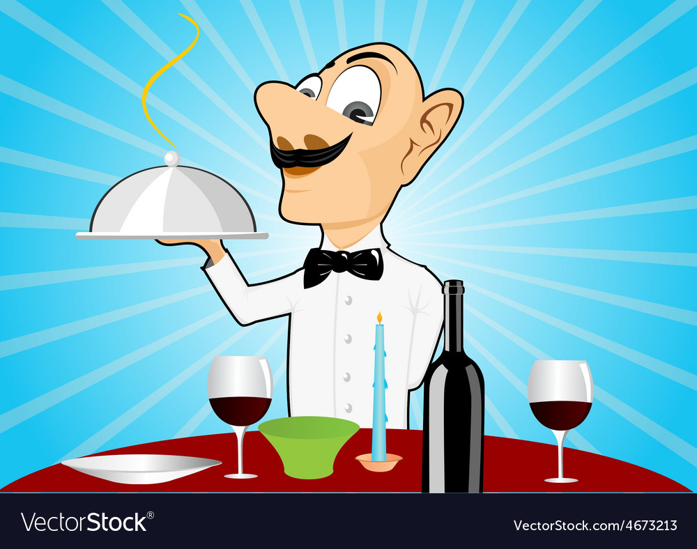 Waiter with mustache setting the table vector | Price: 1 Credit (USD $1)