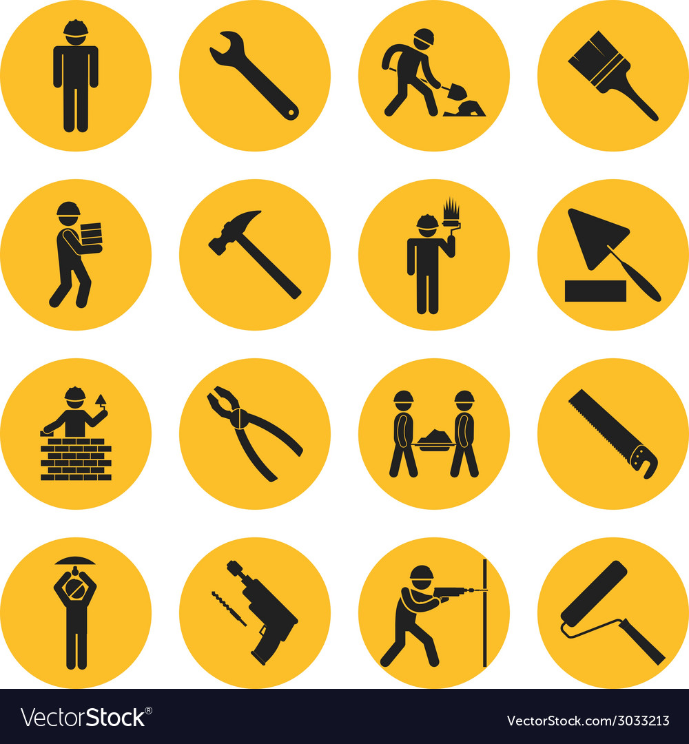 Yellow circle construction and building icons vector | Price: 1 Credit (USD $1)