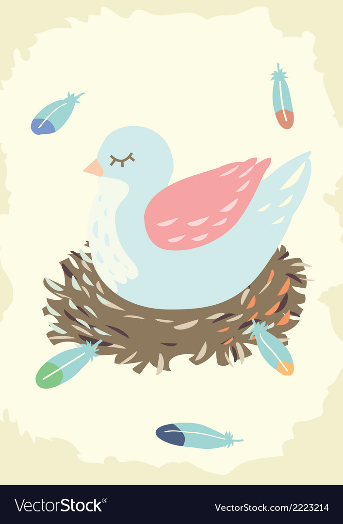 Bird nest with mother bird vector | Price: 1 Credit (USD $1)