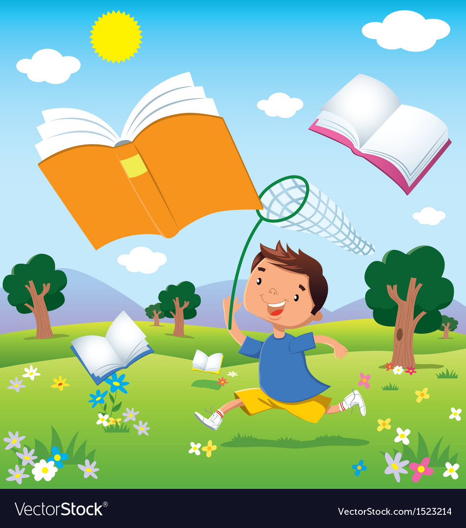 Child on the hunt for books vector | Price: 3 Credit (USD $3)